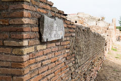 Wall in Ostia antica ruins. Via delle terme Royalty Free Stock Photos