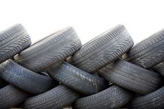 Wall out of tyres Stock Images