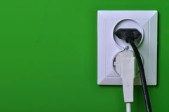 Wall outlets on the green wall Royalty Free Stock Images
