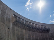 Wall, overflow and sun at impressive Katse Dam hydroelectric power plant in Lesotho, Africa Stock Photos