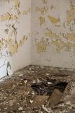 A wall in the abandoned building stock image