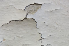 Wall Paint Peeling. The old paint on a basement concrete wall is cracking, and peeling away from the concrete Royalty Free Stock Image