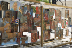 Wall of painted Art images on the Art Festival in raleigh. Horizontal image has displayed many printed art canvaces by local artists. the exposition of arts Royalty Free Stock Photo