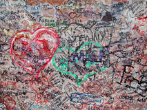 Wall painted by lovers in different colors, Royalty Free Stock Image