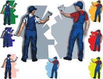 Wall painters. Vector illustration, easy to change colorsn Royalty Free Stock Photography