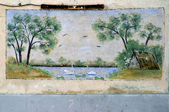 Wall painting. In Sulina, Danube Delta royalty free stock photos