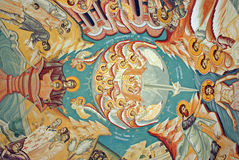 Wall painting. Beautiful religious wall painting with saints on a church ceiling royalty free stock photo