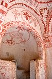 Wall painting art in Goreme caves stock image