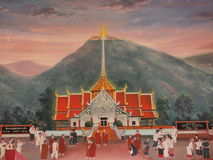 Wall painting art of thai temple Stock Photos