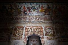 Wall painting decoration and depict details inside Orchha Palace, Madhiya Pradesh, India. Wall painting decoration and depict details inside Orchha Palace stock photography