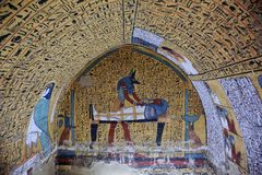 Wall painting and decoration of the tombÑŽ Luxor, Egypt. Wall painting and decoration of the tomb: ancient Egyptian gods and hieroglyphs in wall painting royalty free stock image