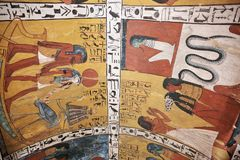 Wall painting and decoration of the tombю Luxor, Egypt Stock Photography