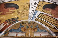 Wall painting and decoration of the tombю Luxor, Egypt Royalty Free Stock Images