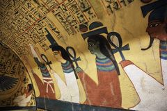 Wall painting and decoration of the tombÑŽ Luxor, Egypt. Wall painting and decoration of the tomb: ancient Egyptian gods and hieroglyphs in wall painting royalty free stock images
