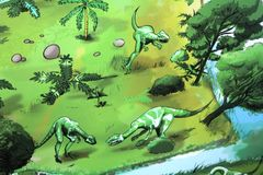 A wall painting of dinosaurs in Gondwana, the Prehistoric Museum in Germany Royalty Free Stock Images