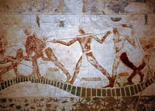 WALL-PAINTING, EGYPT. Wall painting from a tomb in Egyptian museum in Cairo Stock Photo