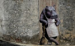 the wall painting of a hippopotamus royalty free stock photos