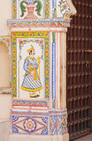 Wall painting in an Indian gateway Stock Image