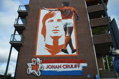 Wall Painting Johan Cruijff. By Paulo Consentino In Amsterdam East 2017 royalty free stock photos