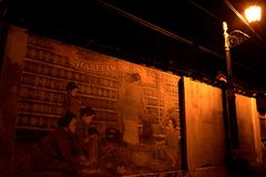 Wall painting, Kotagede. Yogyakarta. Stock Photo