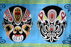 Wall painting of local opera masks Stock Photography