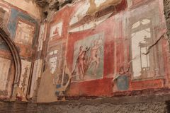Wall painting of Neptune and Aimone in Roman villa in Herculaneum, Italy Royalty Free Stock Image