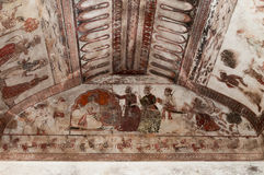 Wall painting in Raj Mahal palace in Orchha Stock Photo