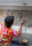 Wall painting_1. Wall painting renovation in thai temple Royalty Free Stock Photos