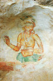 Wall painting in Sigiriya rock monastery Stock Photography