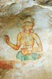 Wall painting in Sigiriya rock monastery stock photography