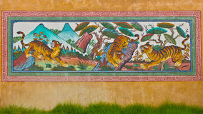 Wall painting tiger picture in temple Stock Image