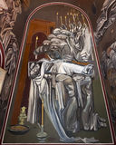 Wall Painting in Tsarevets Church Stock Image