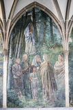 Fresco in former abbey, Zurich, Cloister Fraumuenster. Wall pinting Cloister Fraumuenster, Zurich, Switzerland stock images