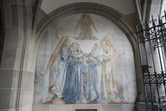 Wall painting Zurich, Cloister Fraumuenster Royalty Free Stock Images