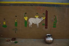 Wall paintings of Badna Festival in Purulia, West Bengal, India royalty free stock photo
