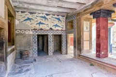 Wall painting at Knossos palace, crete - Greece Royalty Free Stock Images