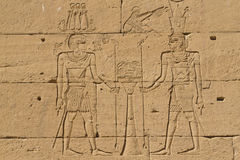 The wall paintings in Egyptian Temple of Kalabsha. The wall paintings in Egyptian temples (Temple of Kalabsha on the banks of Aswan, Egypt Royalty Free Stock Images
