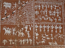 Wall paintings. On inner side of Saoras tribals house, Orissa, Andhra pradesh, India Stock Image