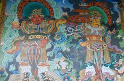 Wall paintings at Namdroling Monastery. Wall paintings at Namdroling Monastry, Kushalnagar, Karnataka, India Stock Photos