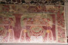 Wall paintings on the Pyramids of Teotihuacan, Mexico. royalty free stock image