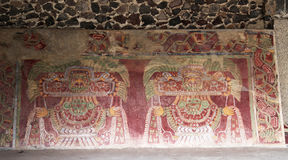 Wall paintings on the Pyramids of Teotihuacan, Mexico. Stock Images