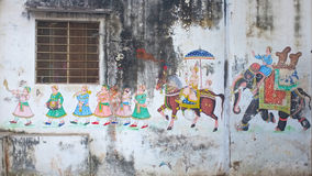 Wall paintings Udaipur, India Stock Photo