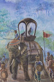 Wall paintings of War elephants. Wall paintings about history Battlefield of King Na-re-suan the Great Stock Images