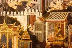 Wall paintings at the Wat Pho Temple, Bangkok, Thailand royalty free stock image