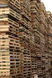 Wall of pallets Stock Photos