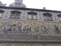 Wall panel from Mason porcelain, Dresden, Germany. The world`s largest wall panel `Procession of princes` of 25 thousand porcelain tiles. The panel royalty free stock photos