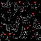 Cats pattern black. wall-paper, group of different cats on a black background in different poses with hearts. Wall-paper, group of different cats on a black royalty free illustration