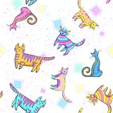 Cats pattern. wall-paper, group of different cats on a white background in different poses. Wall-paper, group of different cats on a white background in vector illustration