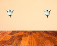 Wall paper with lamp on  parquet floor.  Stock Images