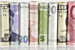 Wall from paper money royalty free stock photos